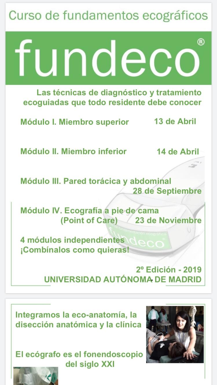 CURSO ECOGRAFÍA UNIVERSIDAD AUTÓNOMA DE MADRID